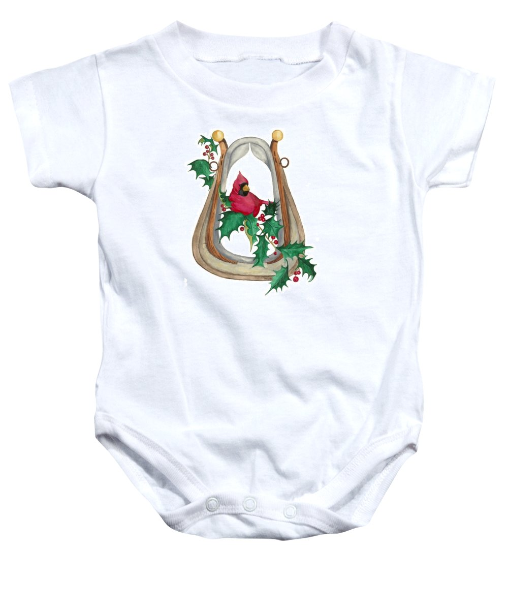 Cardinal Baby Onesie featuring the painting Cardinal by Brandy House