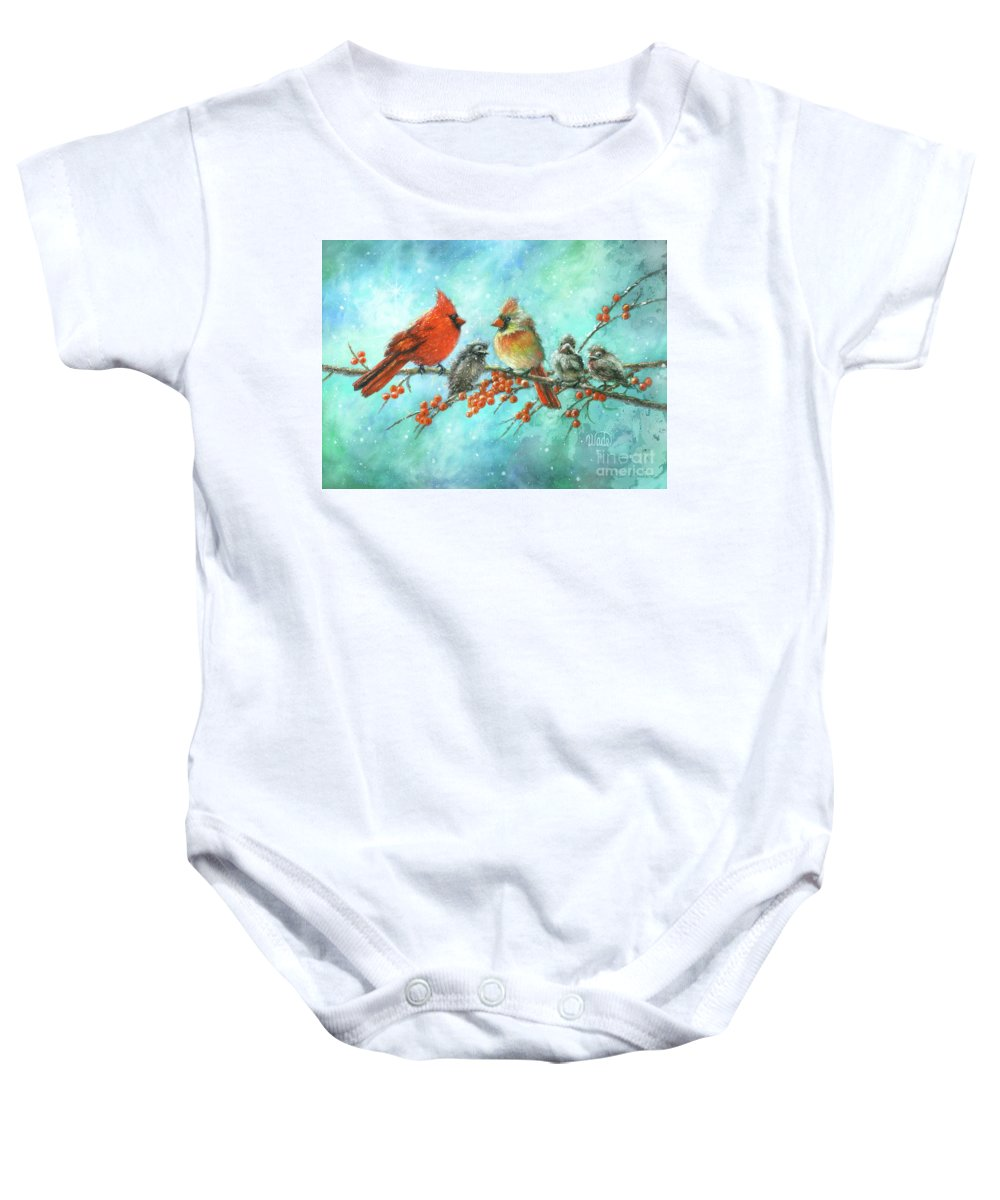 Bird Paintings Baby Onesie featuring the painting Cardinal Family Three Kids by Vickie Wade