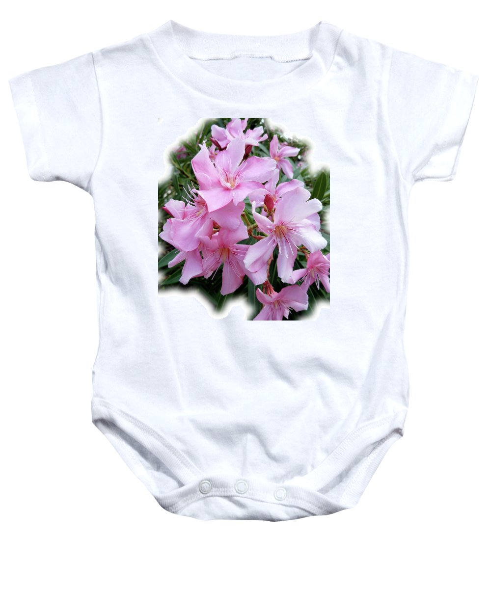Pink Baby Onesie featuring the photograph Caribbean Oleander by Marie Hicks