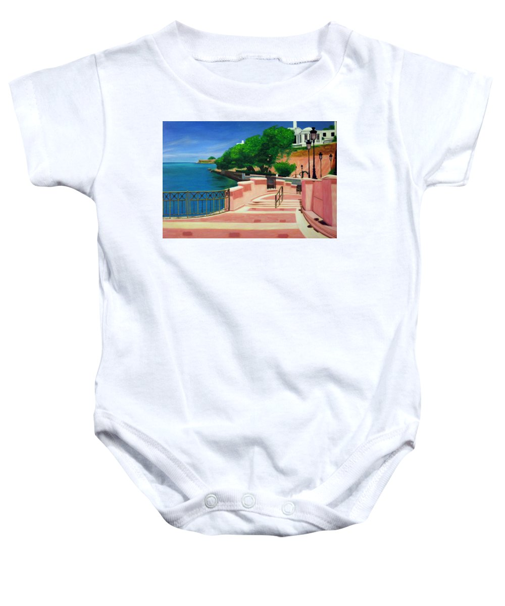 Landscape Baby Onesie featuring the painting Casa Blanca - Puerto Rico by Tito Santiago