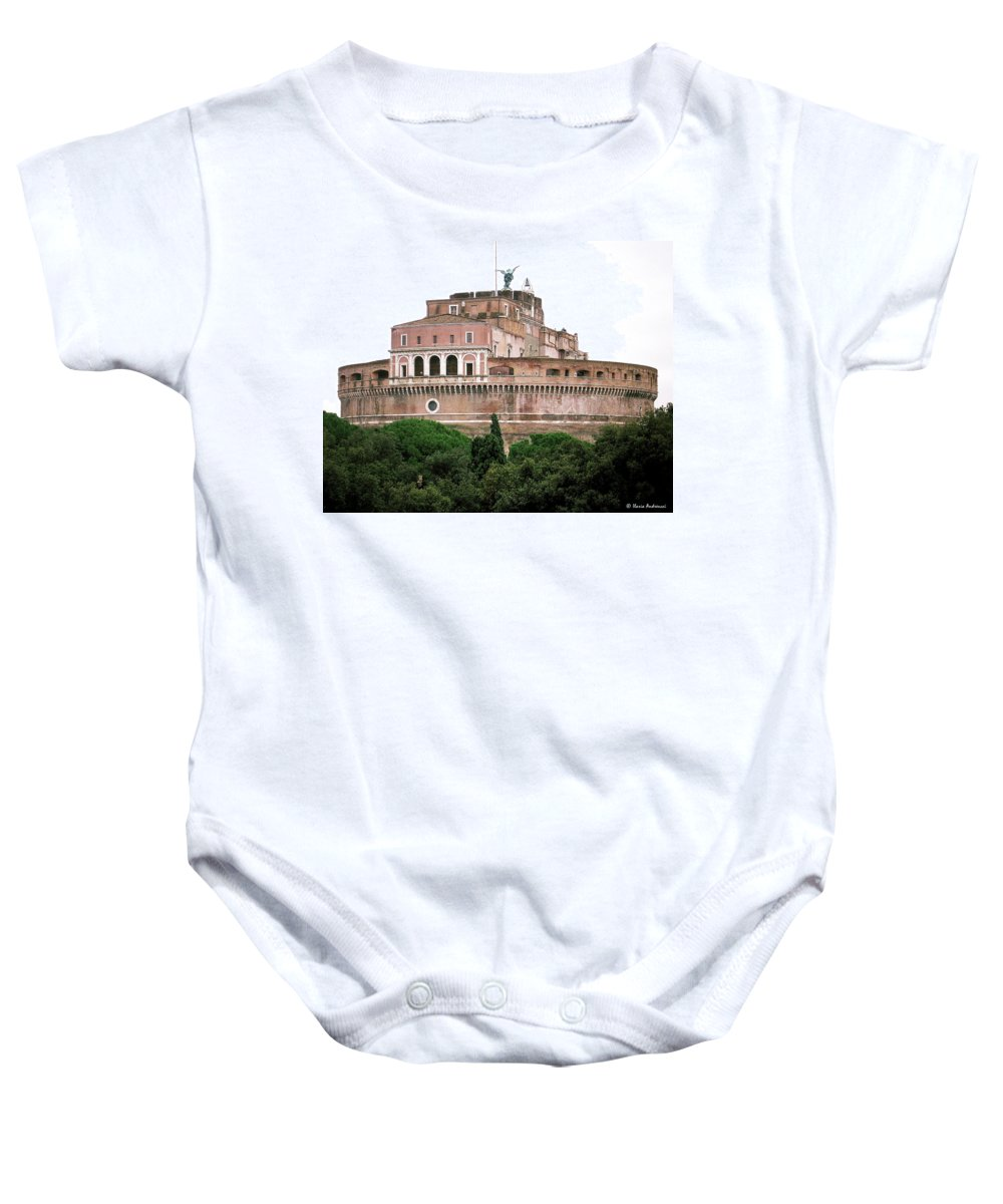 Castel Sant'angelo Baby Onesie featuring the photograph Castel Sant'angelo by Ilaria Andreucci