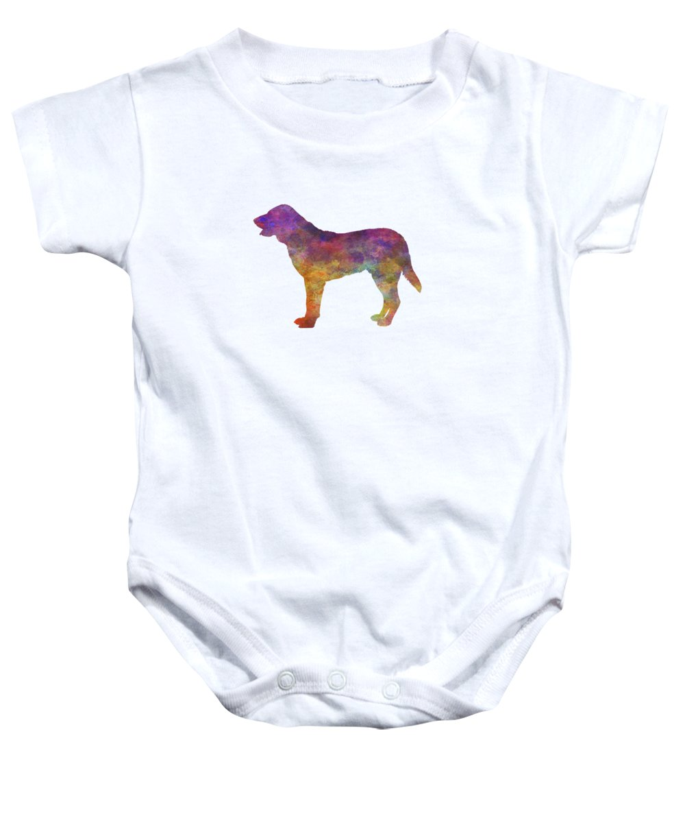 Castro Baby Onesie featuring the painting Castro Laboreiro Dog In Watercolor by Pablo Romero