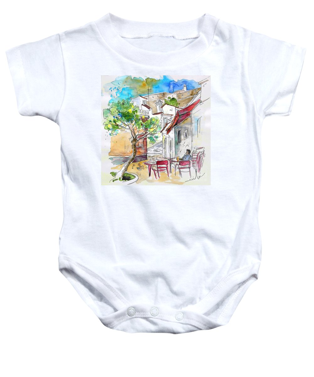 Water Colour Travel Sketch Castro Marim Portugal Algarve Miki Baby Onesie featuring the painting Castro Marim Portugal 01 by Miki De Goodaboom