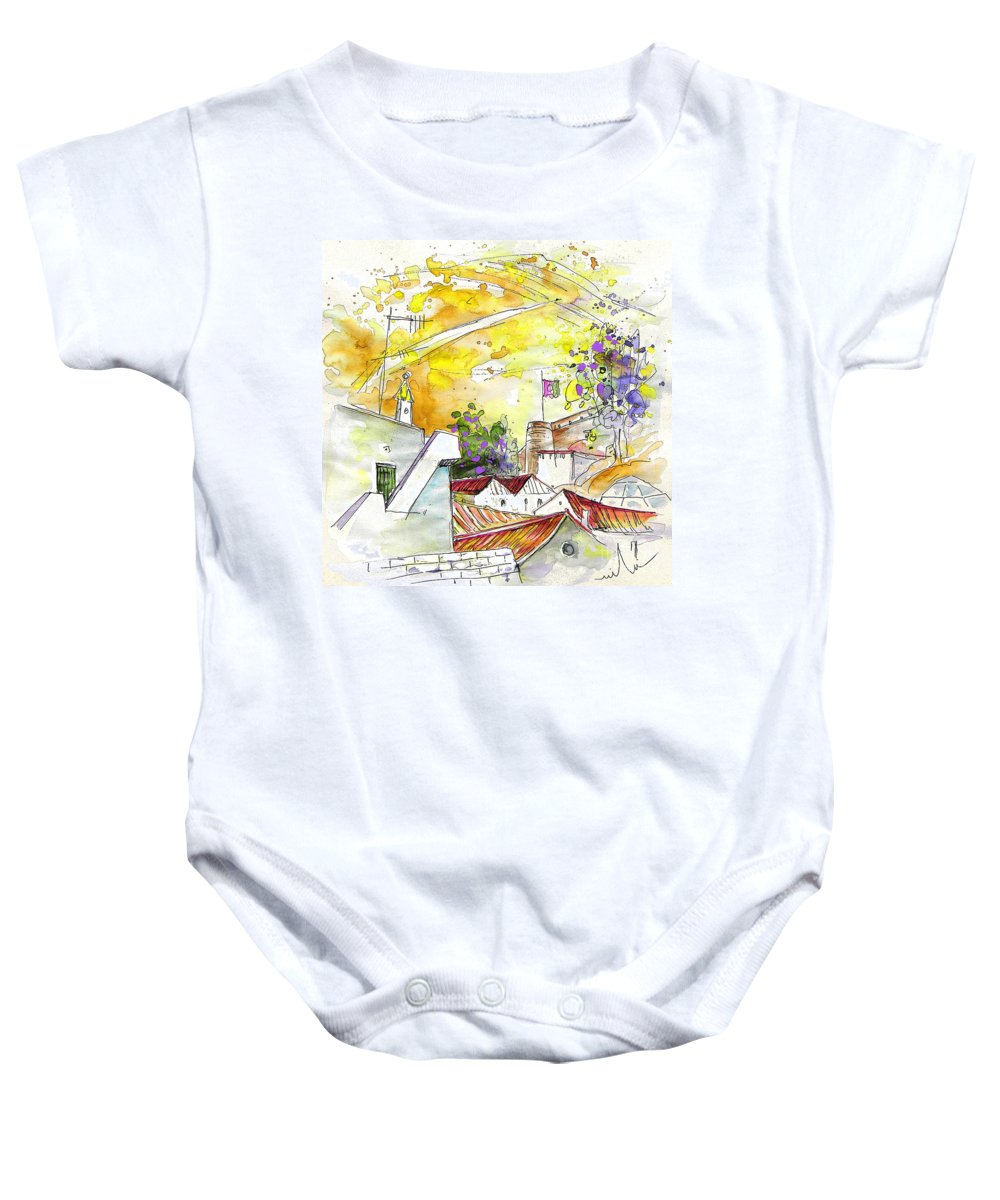 Water Colour Travel Sketch Castro Marim Portugal Algarve Miki Baby Onesie featuring the painting Castro Marim Portugal 03 by Miki De Goodaboom