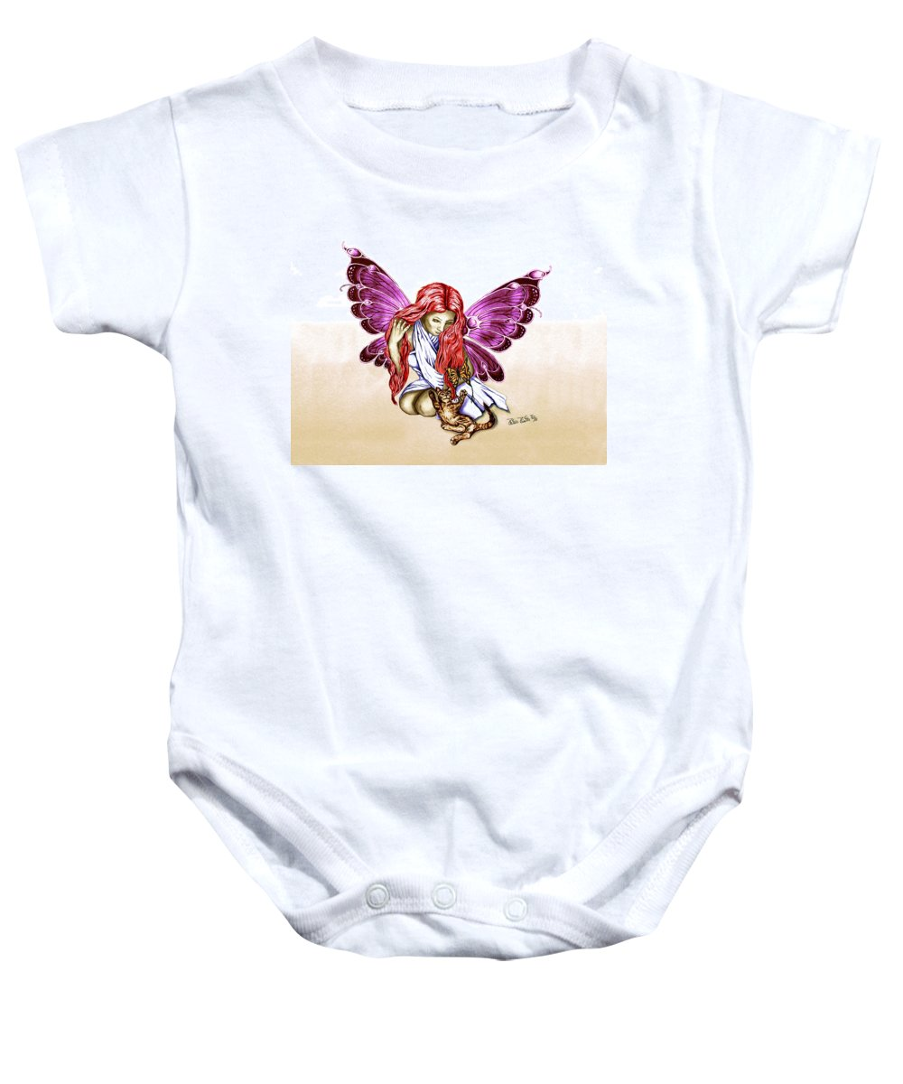 Cat Fairy Baby Onesie featuring the drawing Cat Fairy In Purple by Peter Piatt