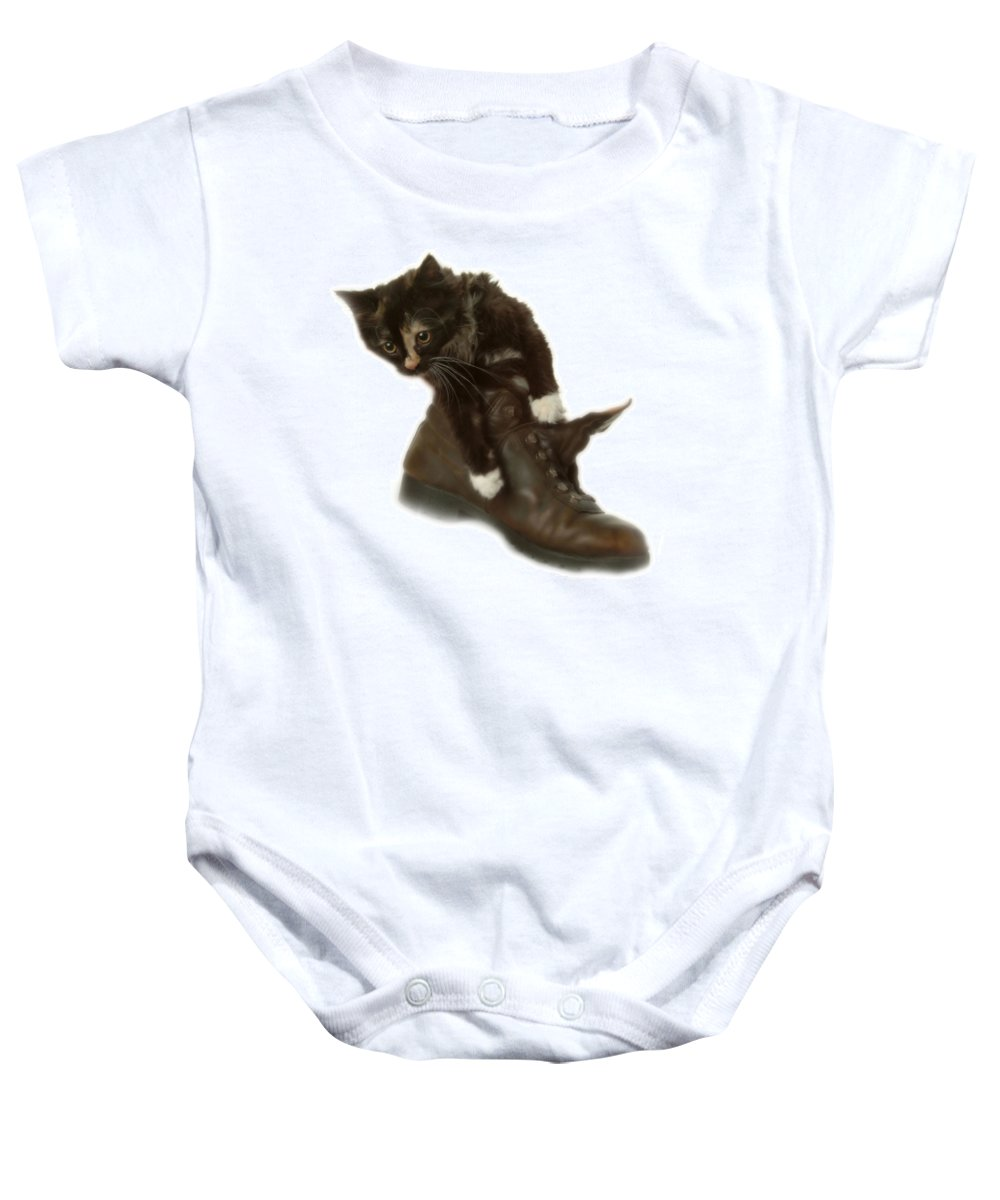 Baby Onesie featuring the photograph Cat In Boot by Cliff Norton