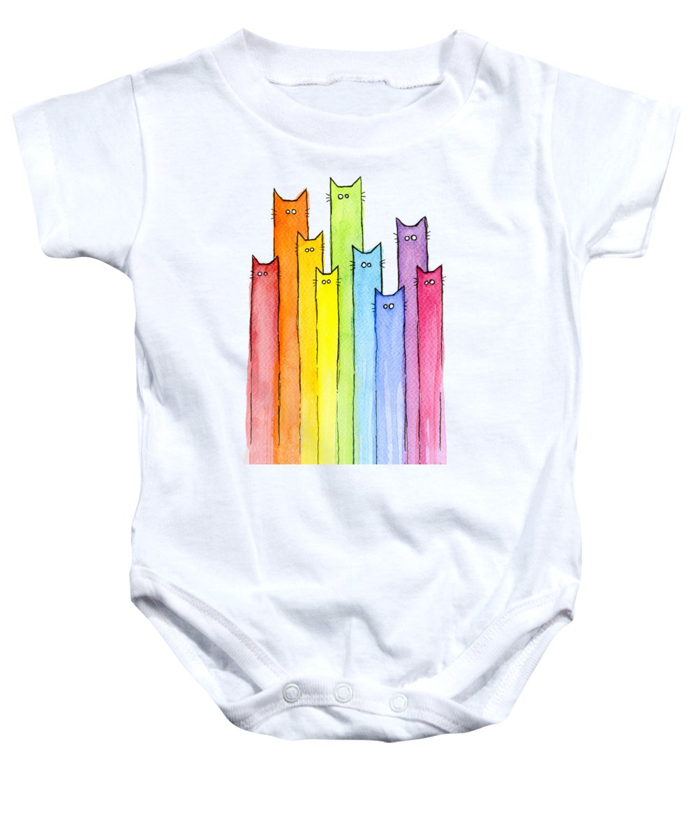 Cats Baby Onesie featuring the painting Cat Rainbow Watercolor Pattern by Olga Shvartsur