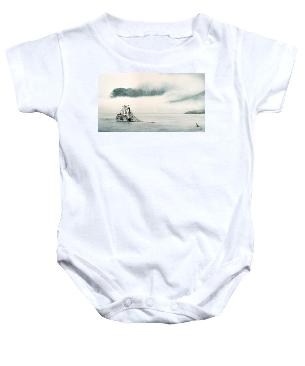 Fishing Boat Baby Onesie featuring the painting Catch Of The Day by Gale Cochran-Smith
