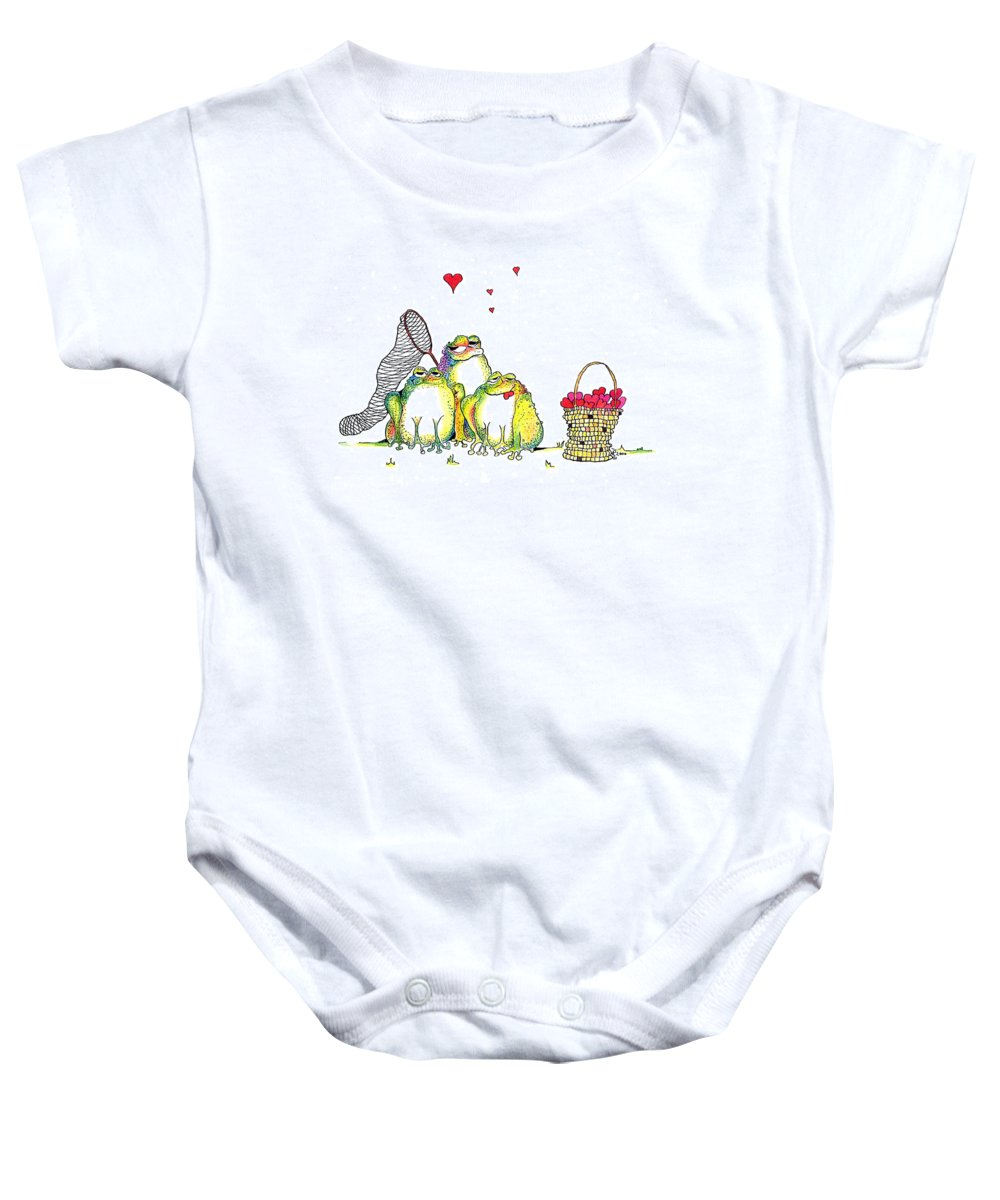 Valentine Card Baby Onesie featuring the painting Catching Hearts by Pat Saunders-White