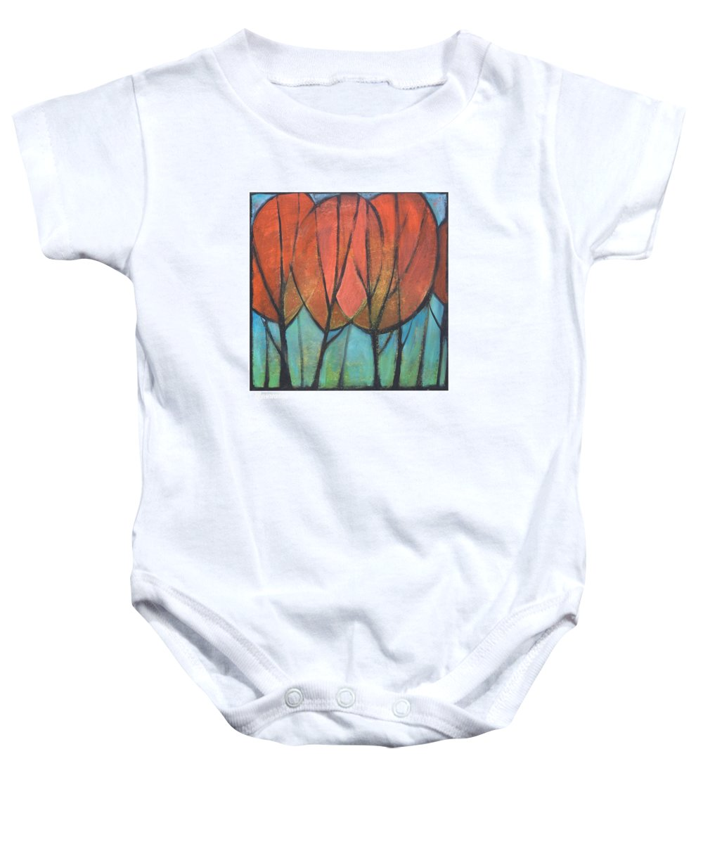 Trees Baby Onesie featuring the painting Cathedral by Tim Nyberg