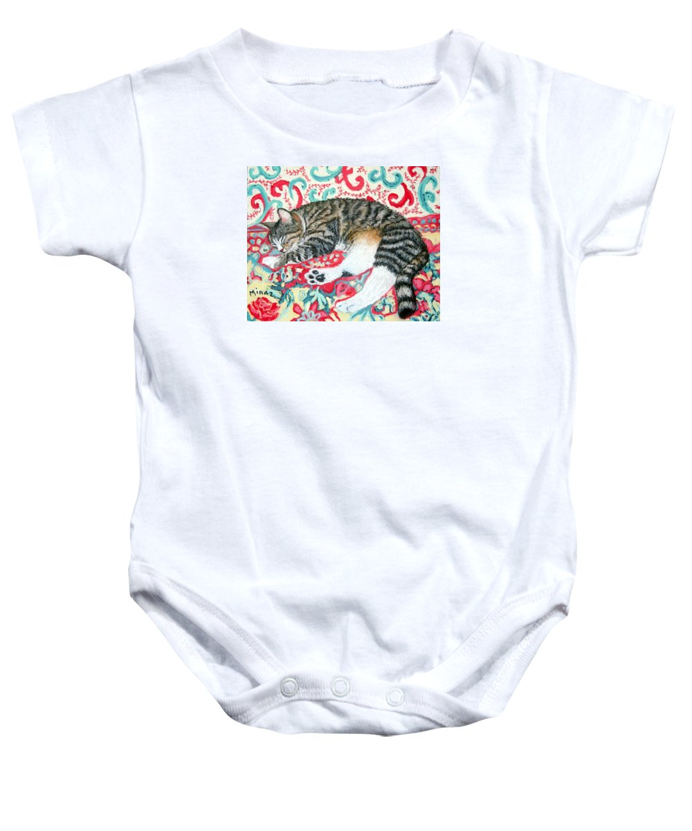 Cat Baby Onesie featuring the painting Catnap Time by Minaz Jantz