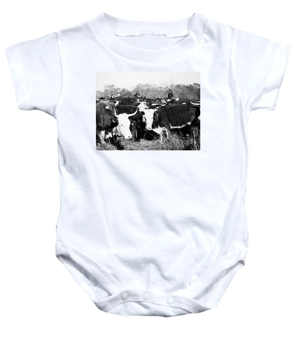 1950 Baby Onesie featuring the photograph Cattle: Longhorns by Granger