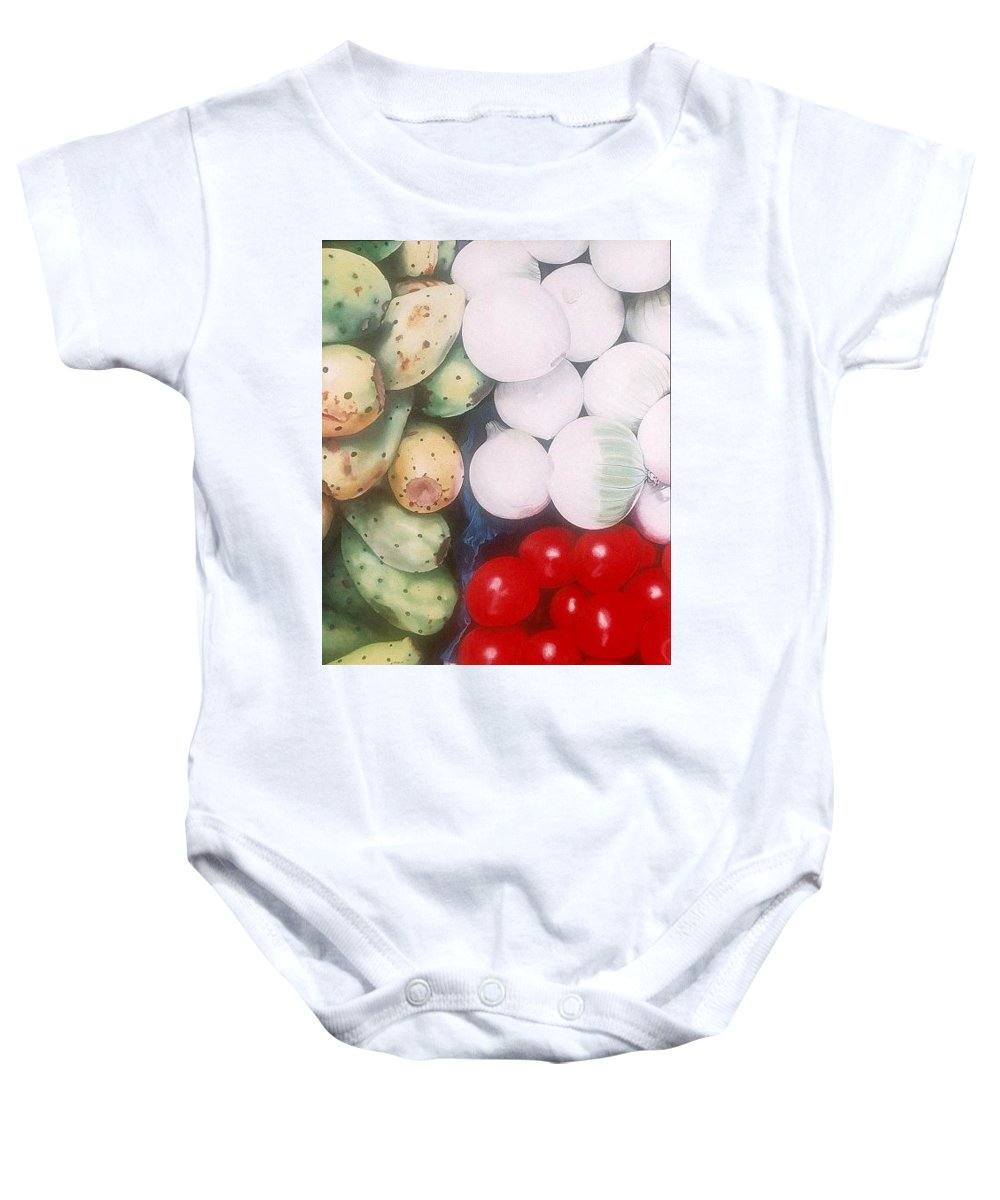 Hyperrealism Baby Onesie featuring the painting Cebollas Tunas Y Tomates by Michael Earney