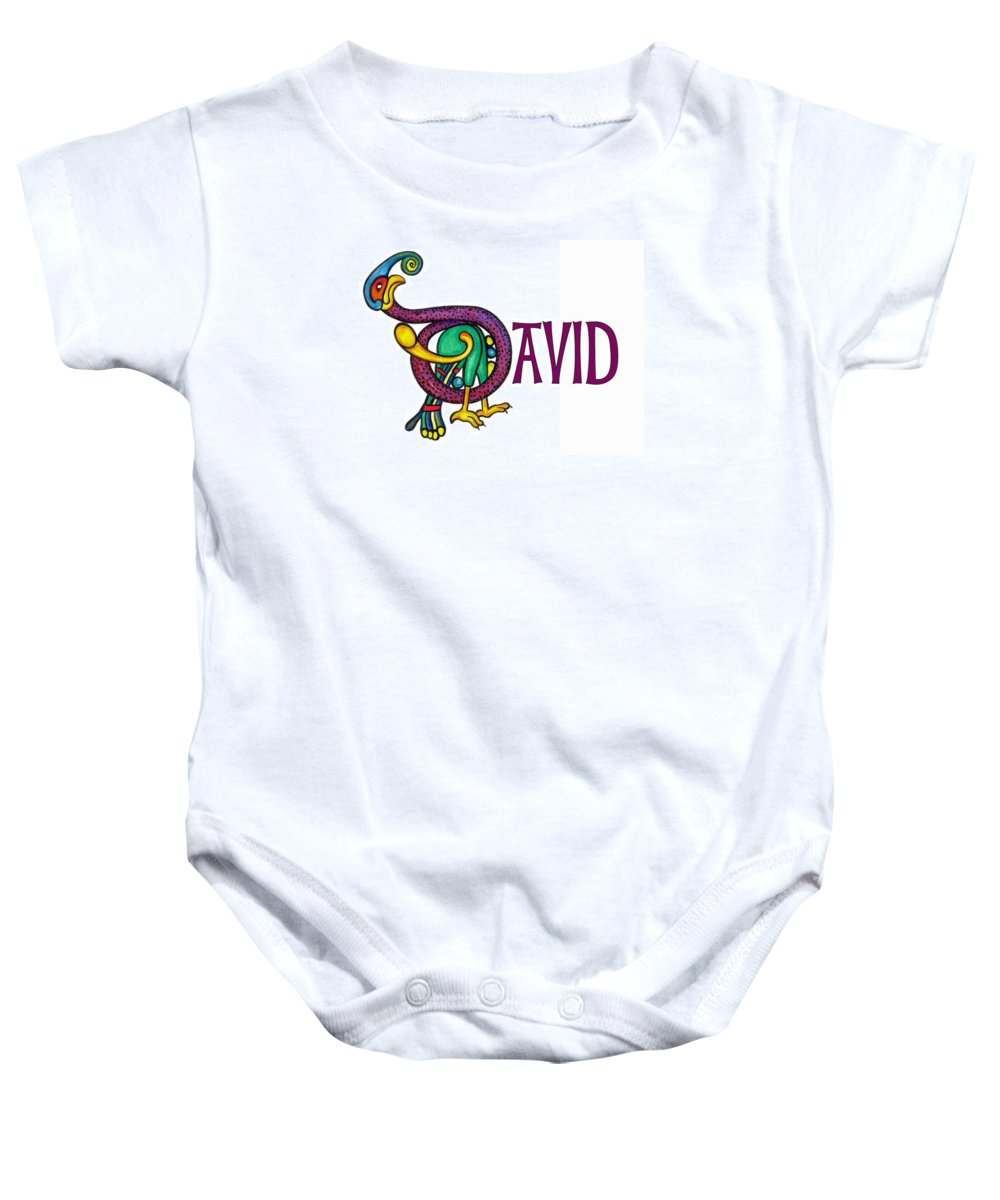 Celtic Baby Onesie featuring the painting Decorative Celtic Name David by Frances Gillotti