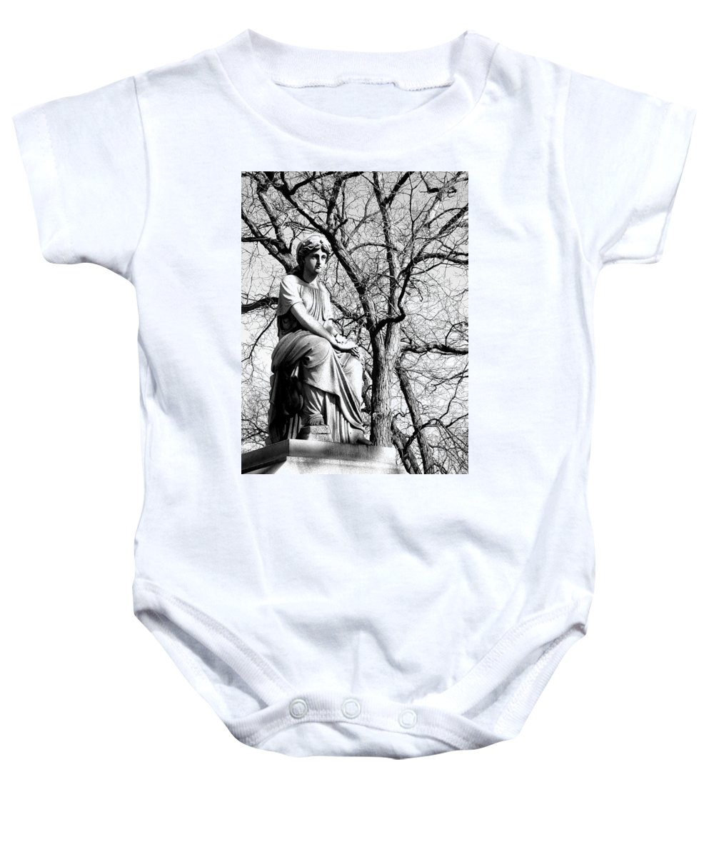 Cemetary Baby Onesie featuring the photograph Cemetary Statue B-w by Anita Burgermeister