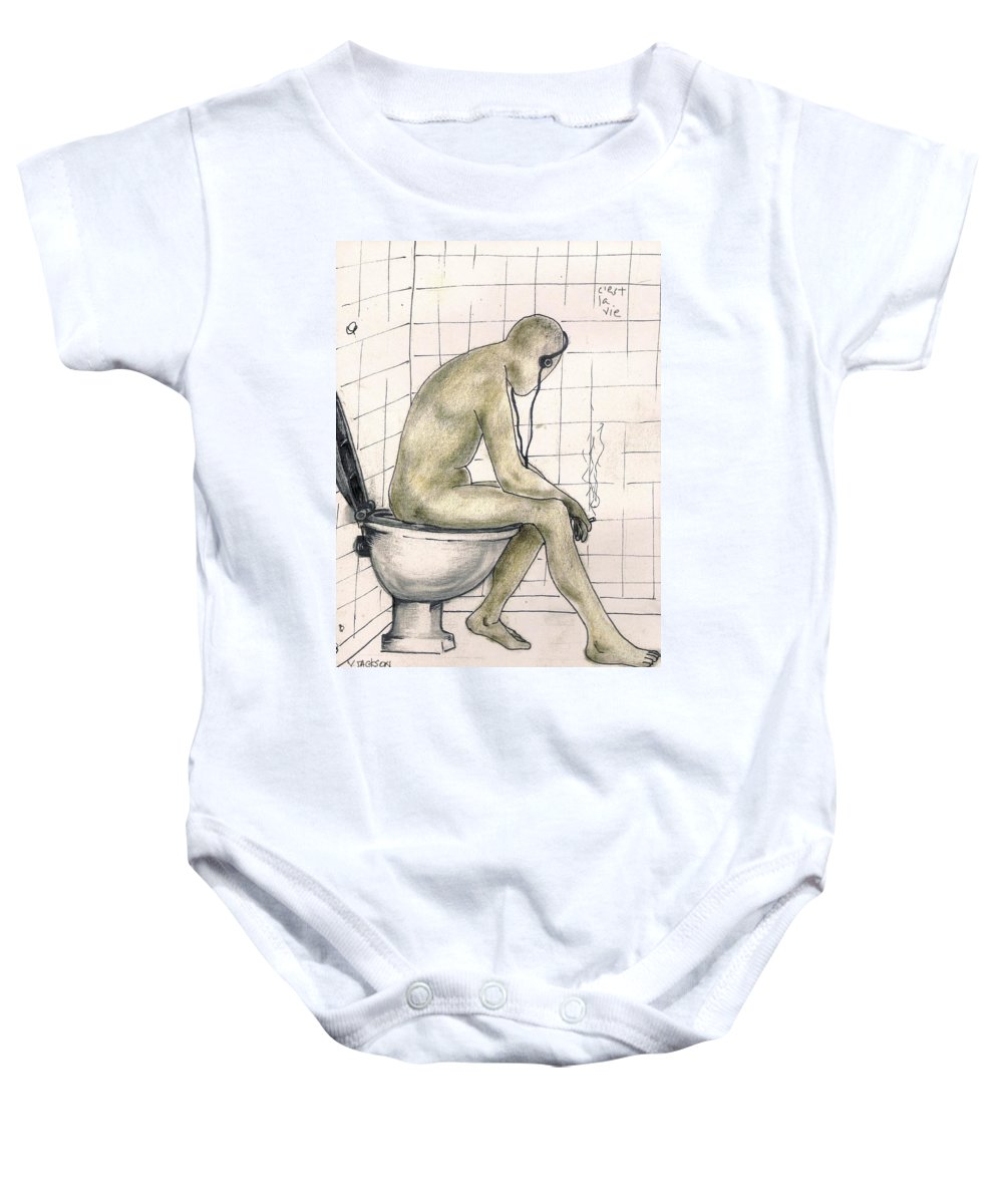 Life Naked Music Baby Onesie featuring the drawing C'est La Vie by Veronica Jackson