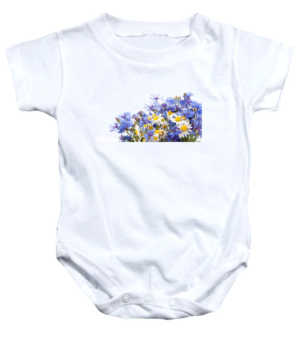 Bachelor Baby Onesie featuring the photograph Chamomile And Cornflower Mix by Arletta Cwalina