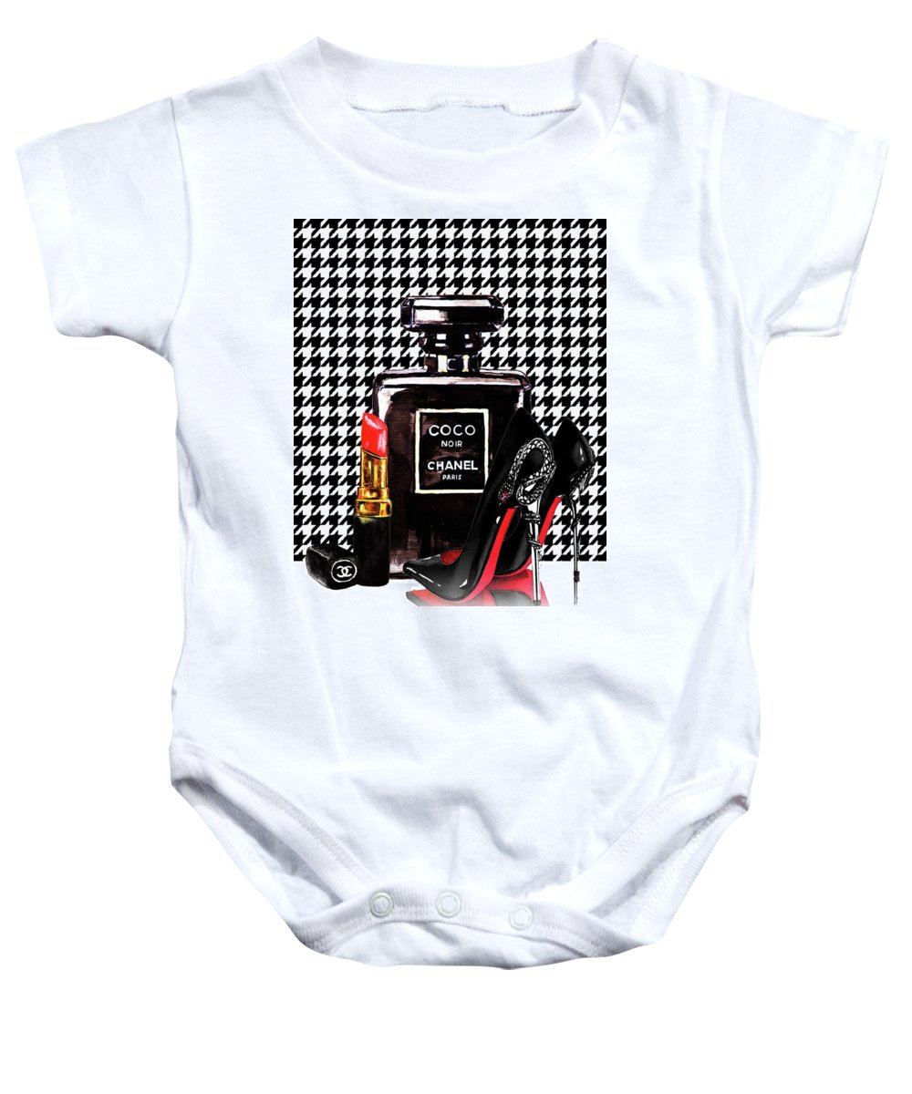 Chanel Noir Perfume With Louboutin Shoes Onesie For Sale By Del Art