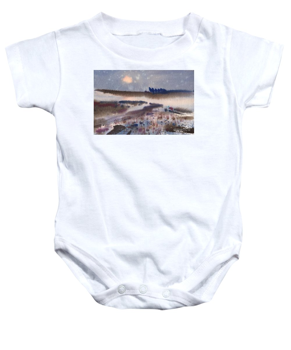 Snow Baby Onesie featuring the painting Changing Seasons by Donald Maier