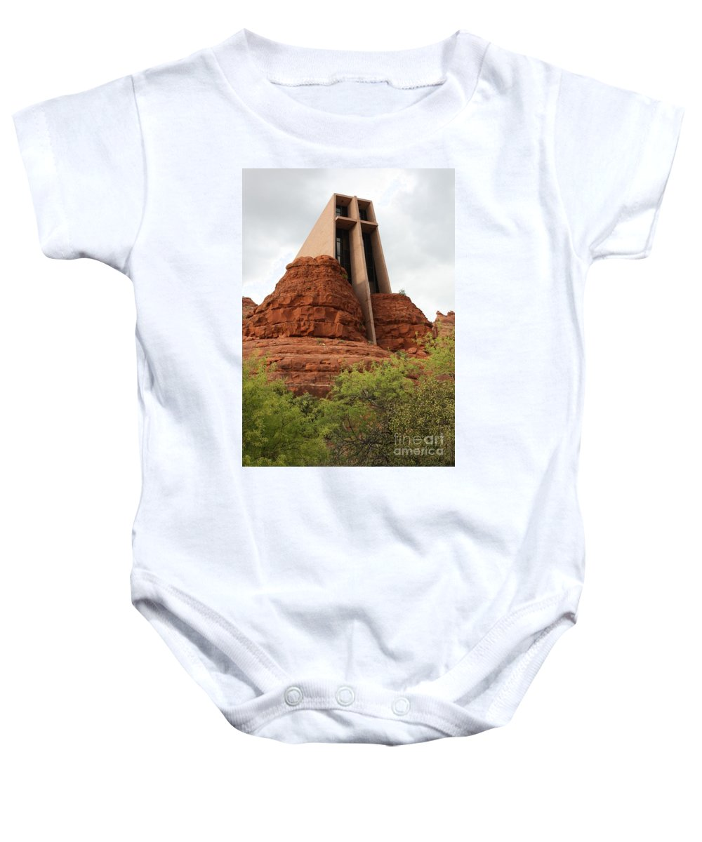 Sedona Baby Onesie featuring the photograph Chapel Of The Holy Cross by Carol Groenen