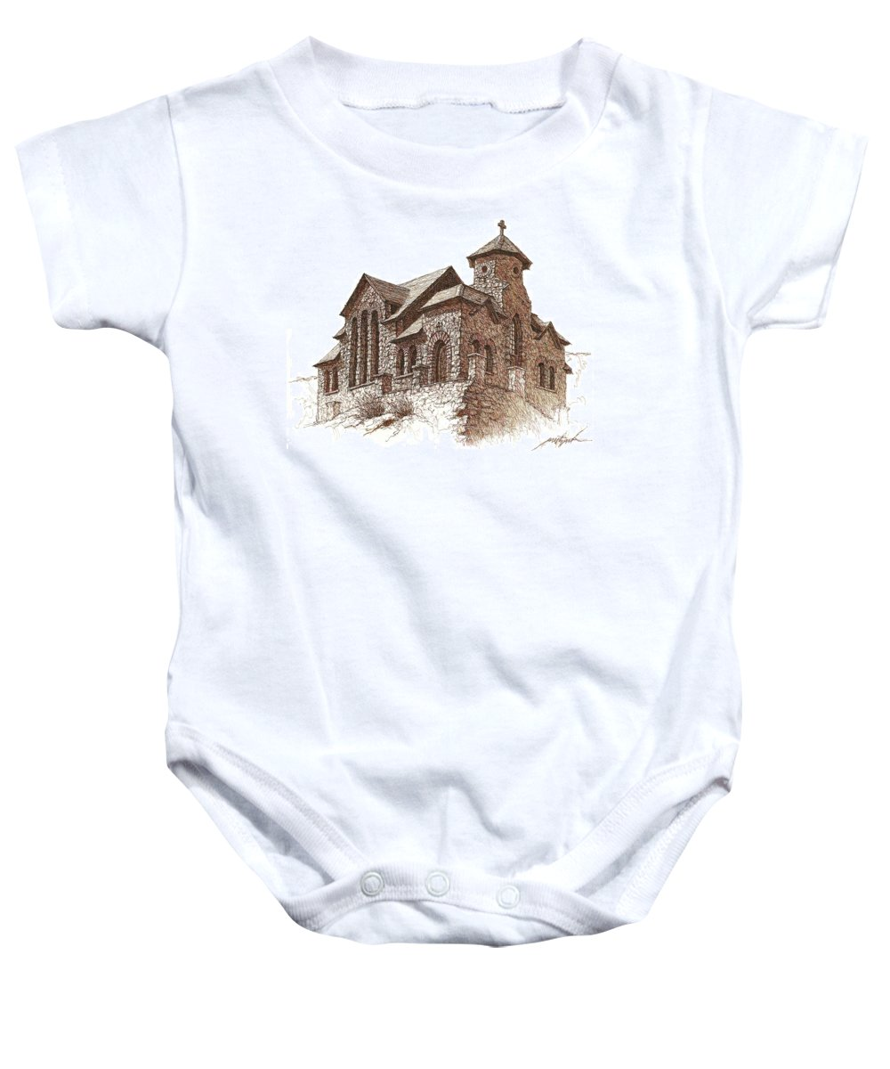 Church Baby Onesie featuring the drawing Chapel On The Rock by Larry Prestwich