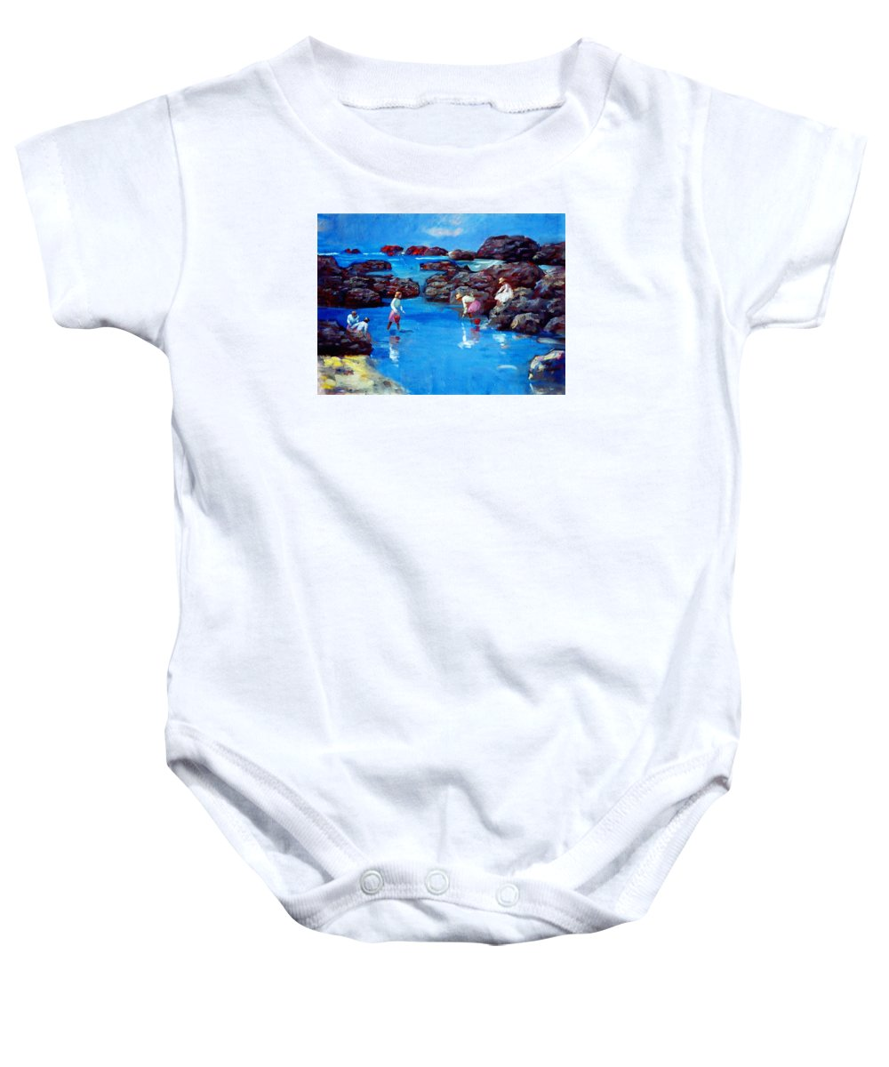 Sea Baby Onesie featuring the painting Chase Sea by LoveyUp Gallery