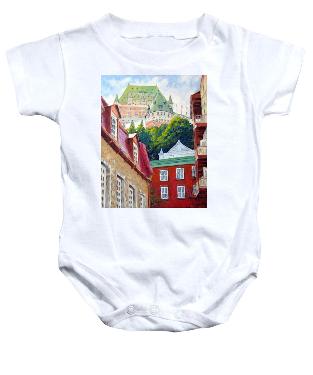 Town Baby Onesie featuring the painting Chateau Frontenac 02 by Richard T Pranke