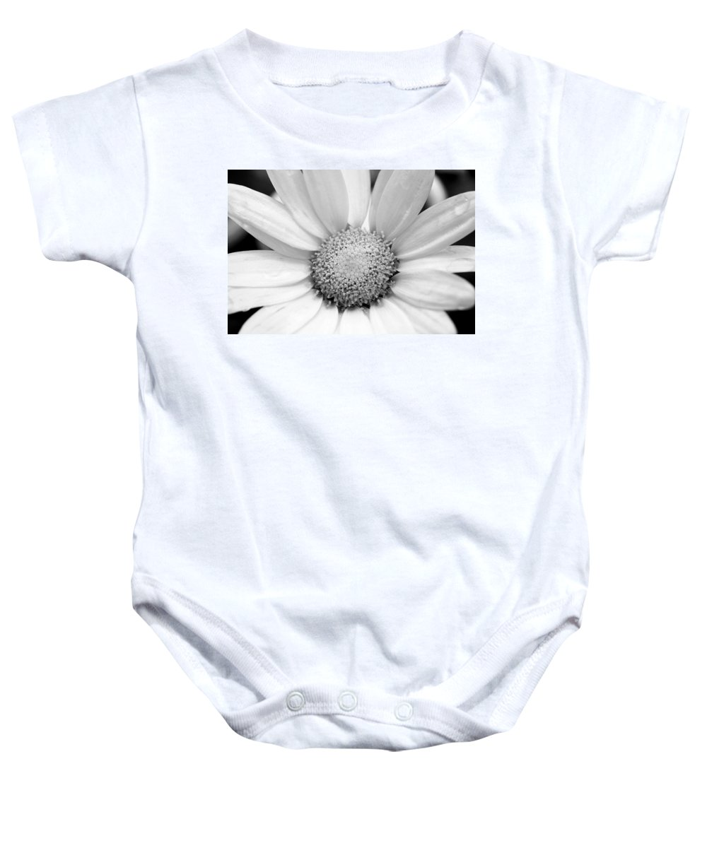 Flower Baby Onesie featuring the photograph Cheery Daisy - Black And White by Angela Rath