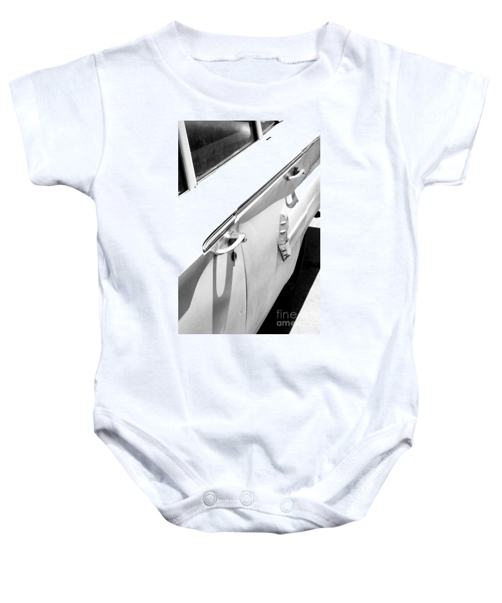 Biscayne Baby Onesie featuring the photograph Chevy Biscayne by Amanda Barcon