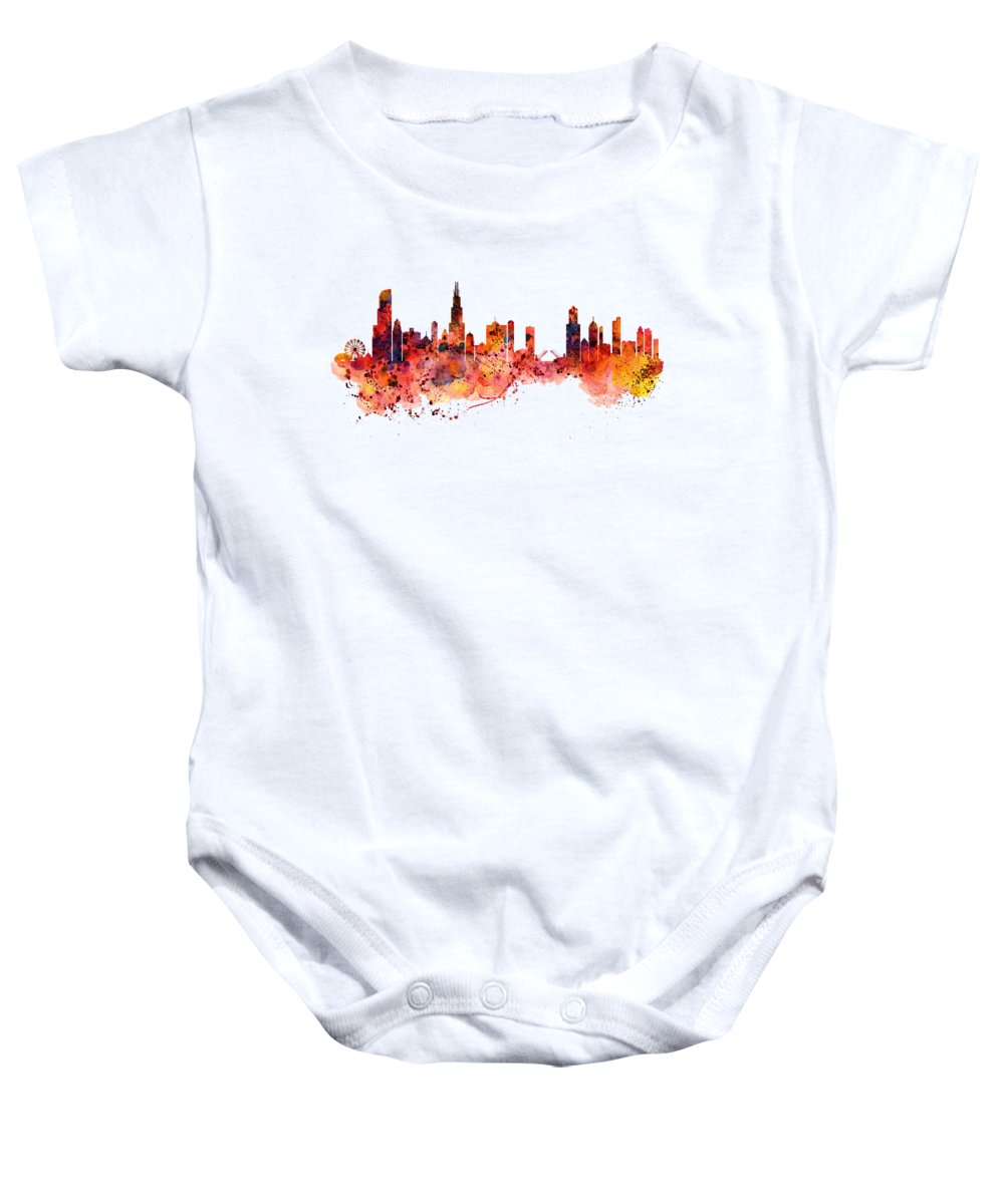 Chicago Baby Onesie featuring the painting Chicago Watercolor Skyline by Marian Voicu