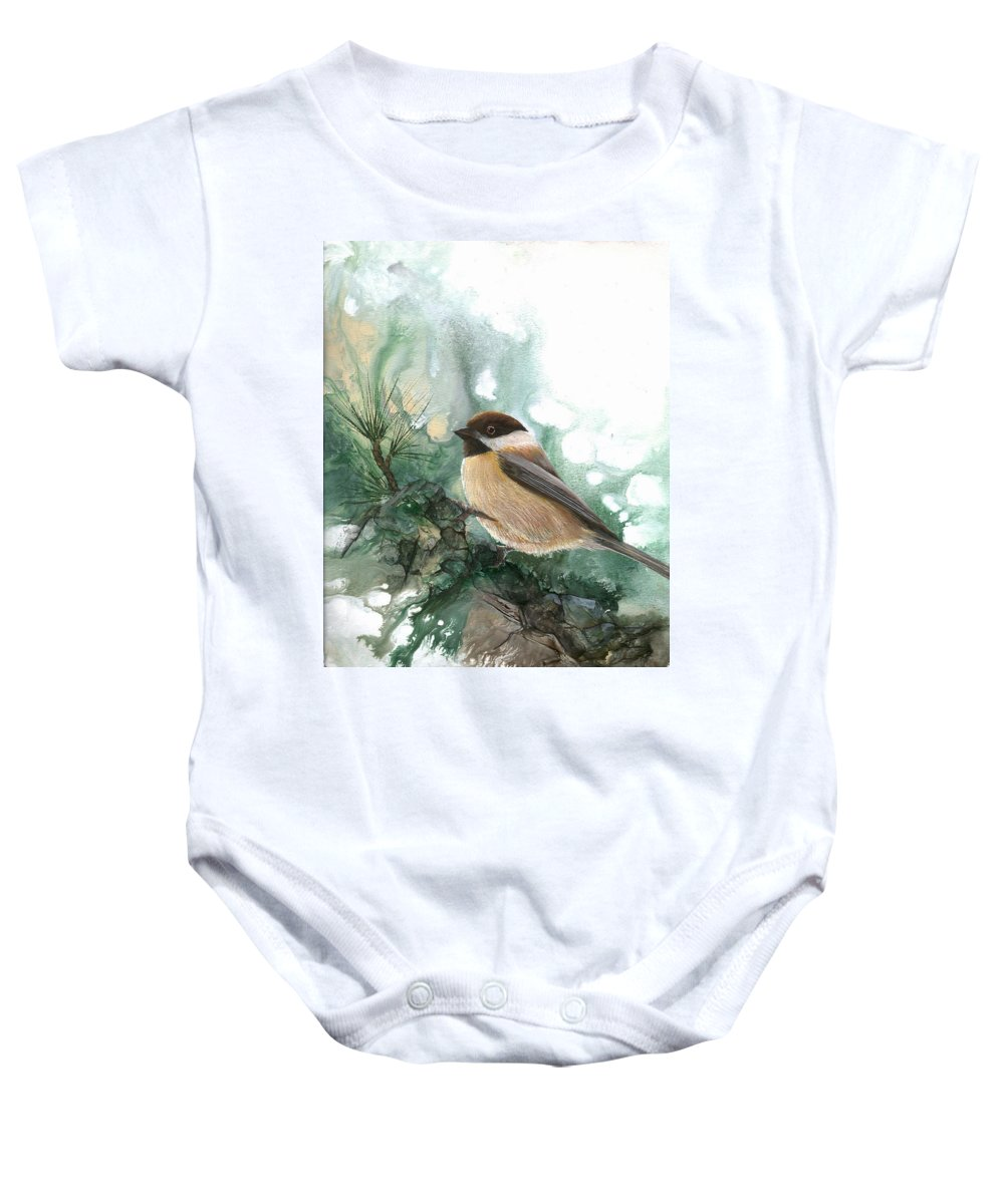 Bird Baby Onesie featuring the painting Chickadee by Sherry Shipley