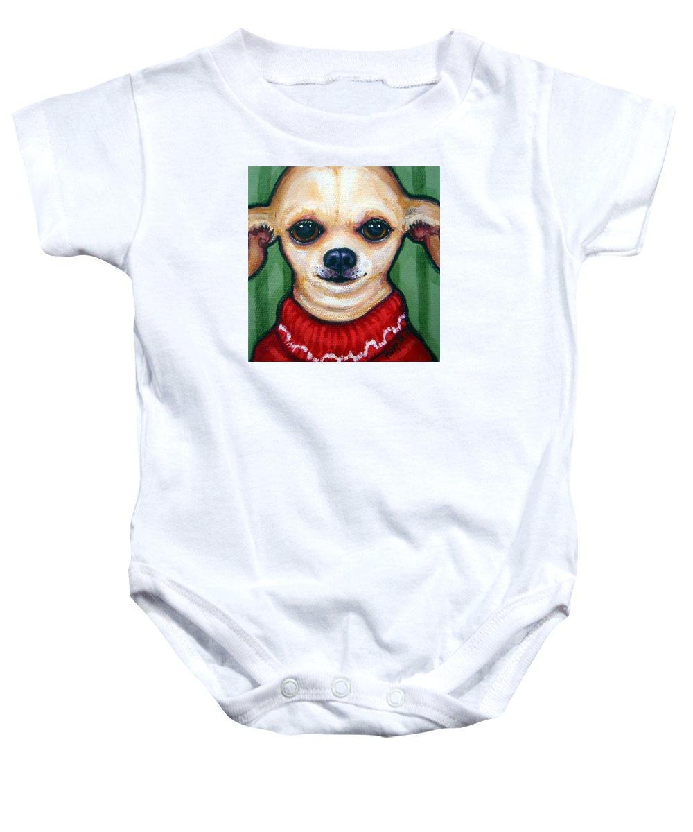 Rebecca Korpita Baby Onesie featuring the painting Chihuahua In Red Sweater - Boss Dog by Rebecca Korpita
