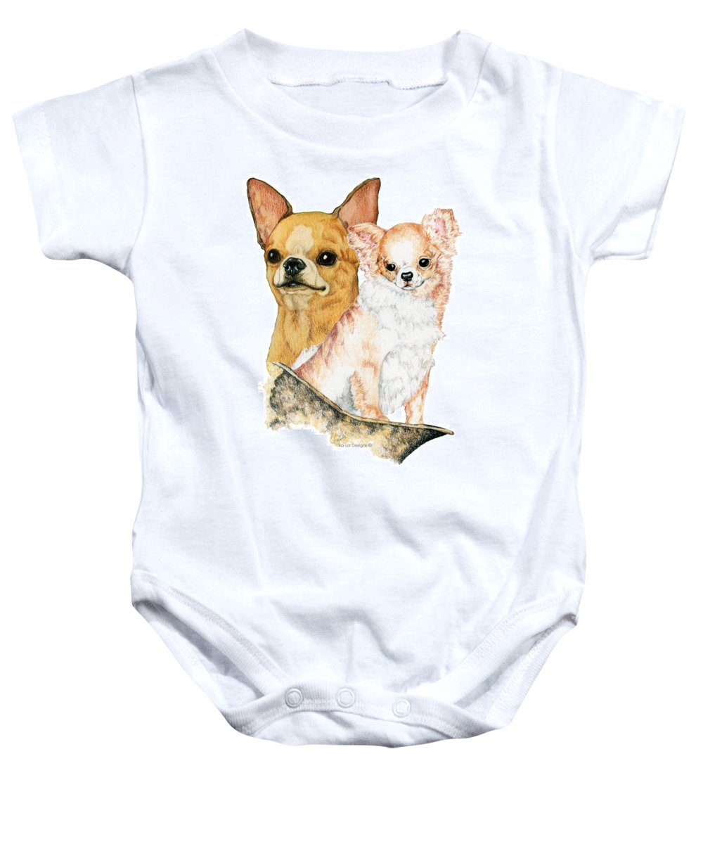 Chihuahua Baby Onesie featuring the drawing Chihuahuas by Kathleen Sepulveda