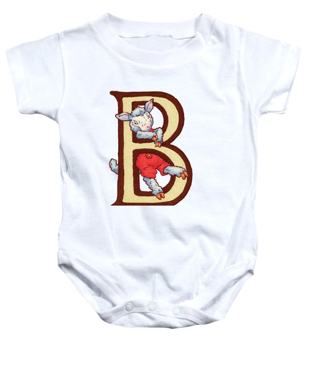 Lamb Baby Onesie featuring the digital art Children's Letter B by Andrea Richardson