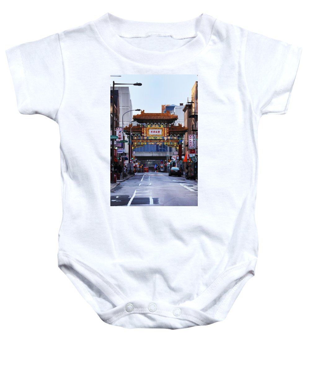 Chinatown Baby Onesie featuring the photograph Chinatown - Philadelphia by Bill Cannon