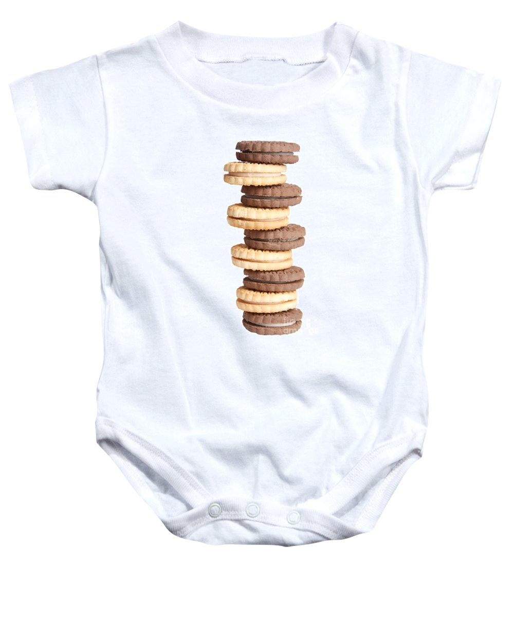 Cookies Baby Onesie featuring the photograph Chocolate And Vanilla Creamed Filled Cookies by James BO Insogna