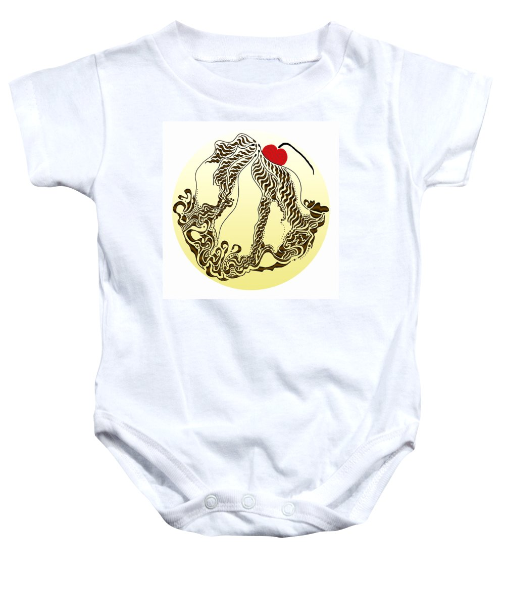 Abstract Baby Onesie featuring the digital art Chocolate Sundae by Mark Sellers