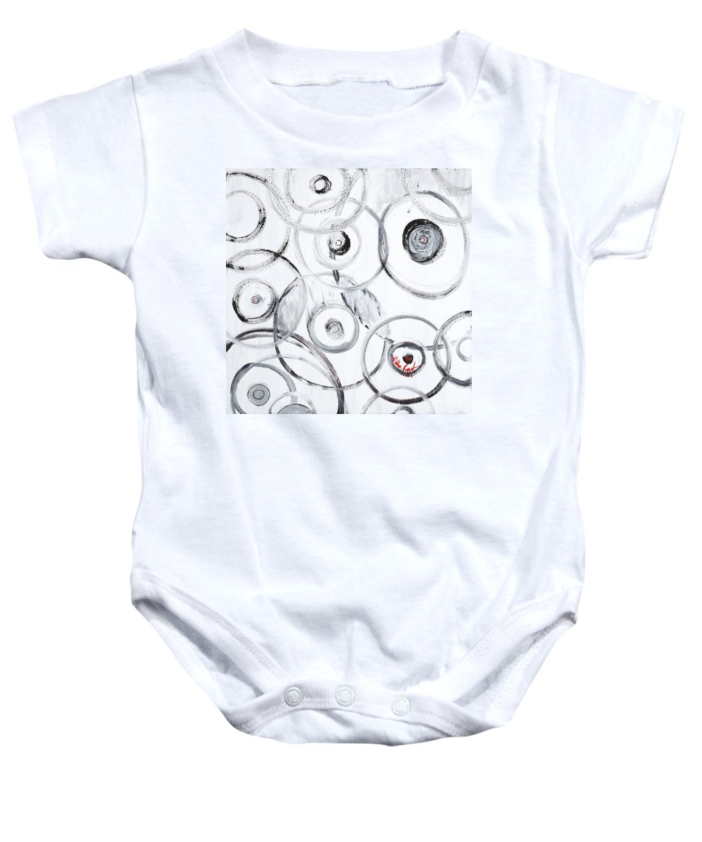 Circles Baby Onesie featuring the painting Choices in White by Nadine Rippelmeyer