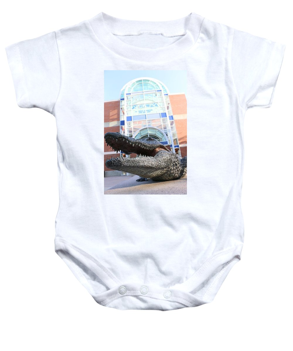 Bull Gator Baby Onesie featuring the photograph Chomp by Jackie Dorr