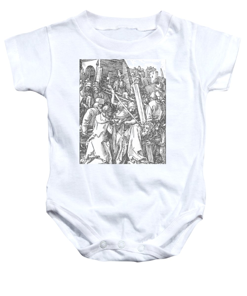 Christ Baby Onesie featuring the painting Christ Bearing The Cross 1509 by Durer Albrecht