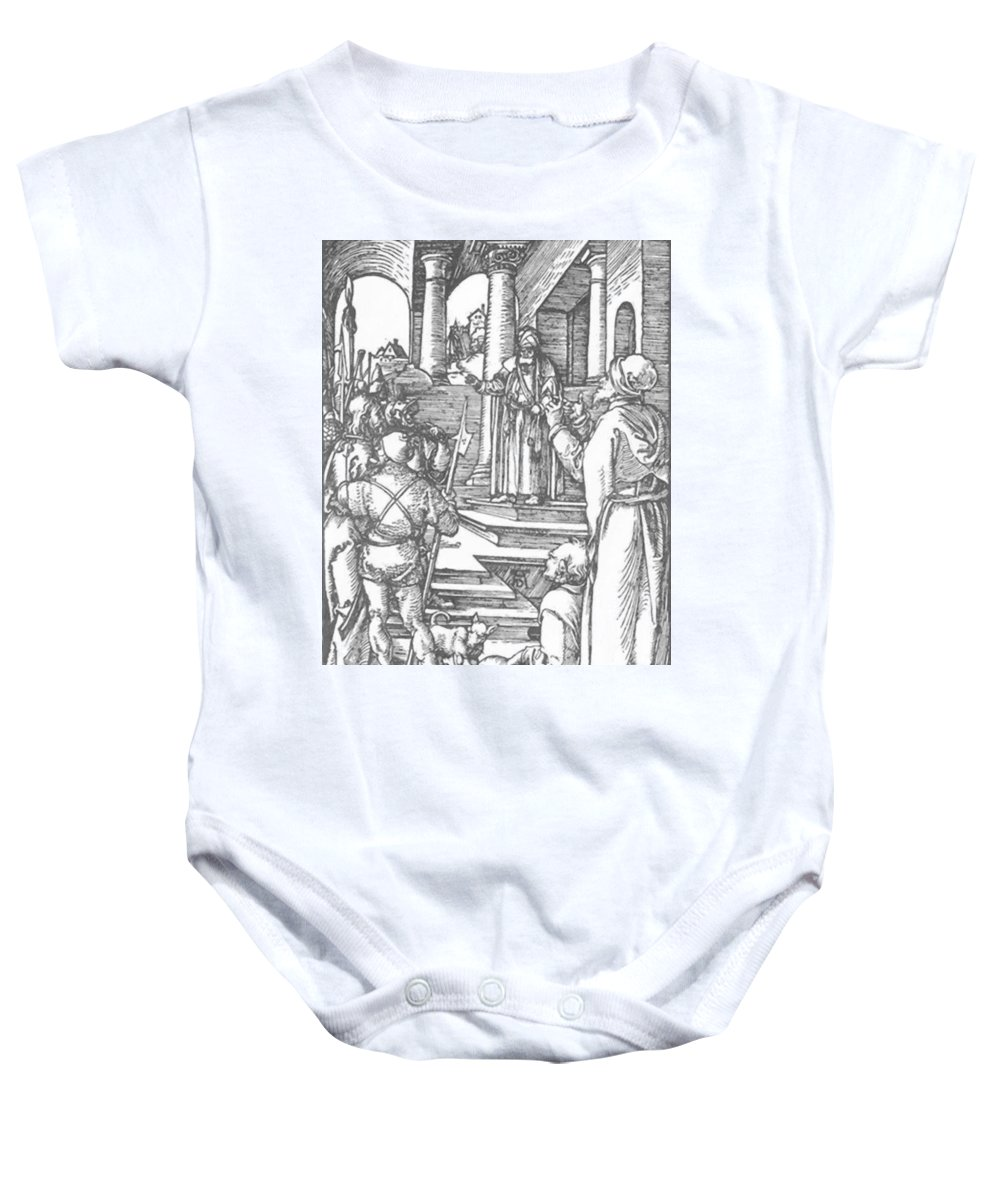 Christ Baby Onesie featuring the painting Christ Before Pilate 1511 by Durer Albrecht