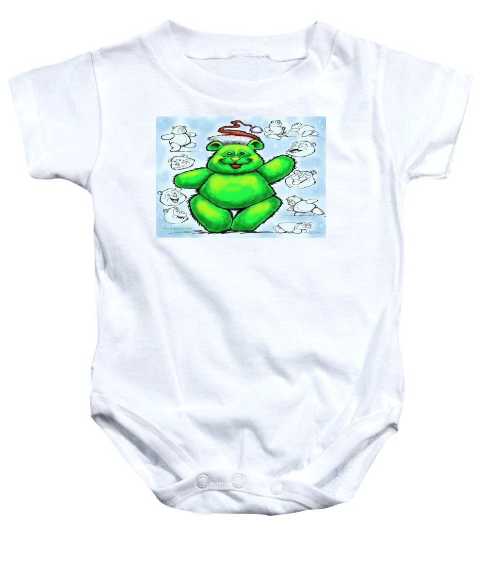 Christmas Baby Onesie featuring the greeting card Christmas Bear by Kevin Middleton