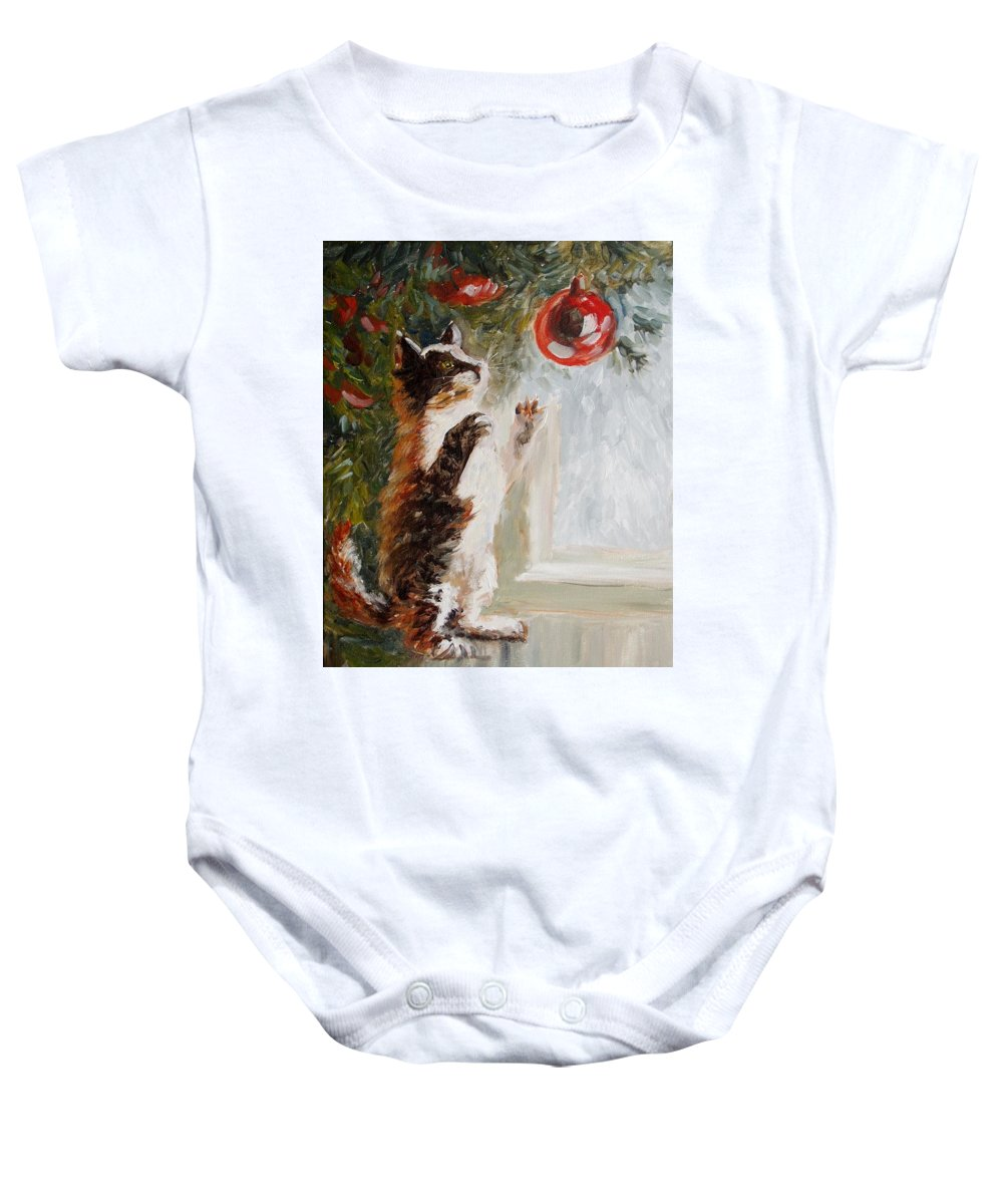 Christmas Baby Onesie featuring the painting Christmas Cat by Elena Sokolova