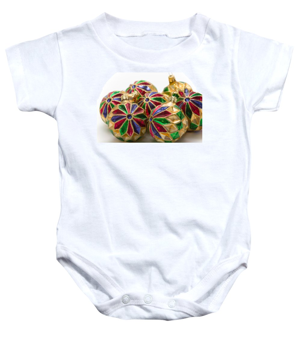 Christmas Baby Onesie featuring the photograph Christmas Ornaments by Louise Heusinkveld