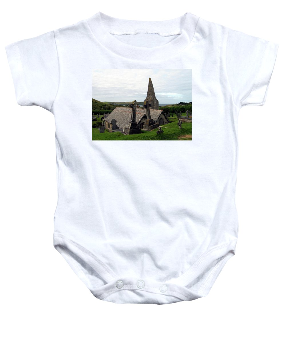 Church Of St. Enodoc Baby Onesie featuring the photograph Church Of St. Enodoc by Kurt Van Wagner