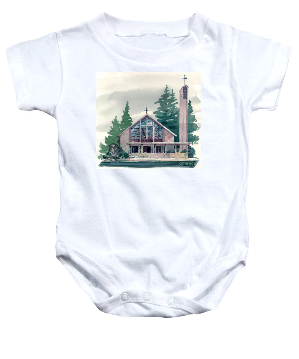 Illustration Baby Onesie featuring the painting Church Of The Immaculate Heart Of Mary by Donald Maier
