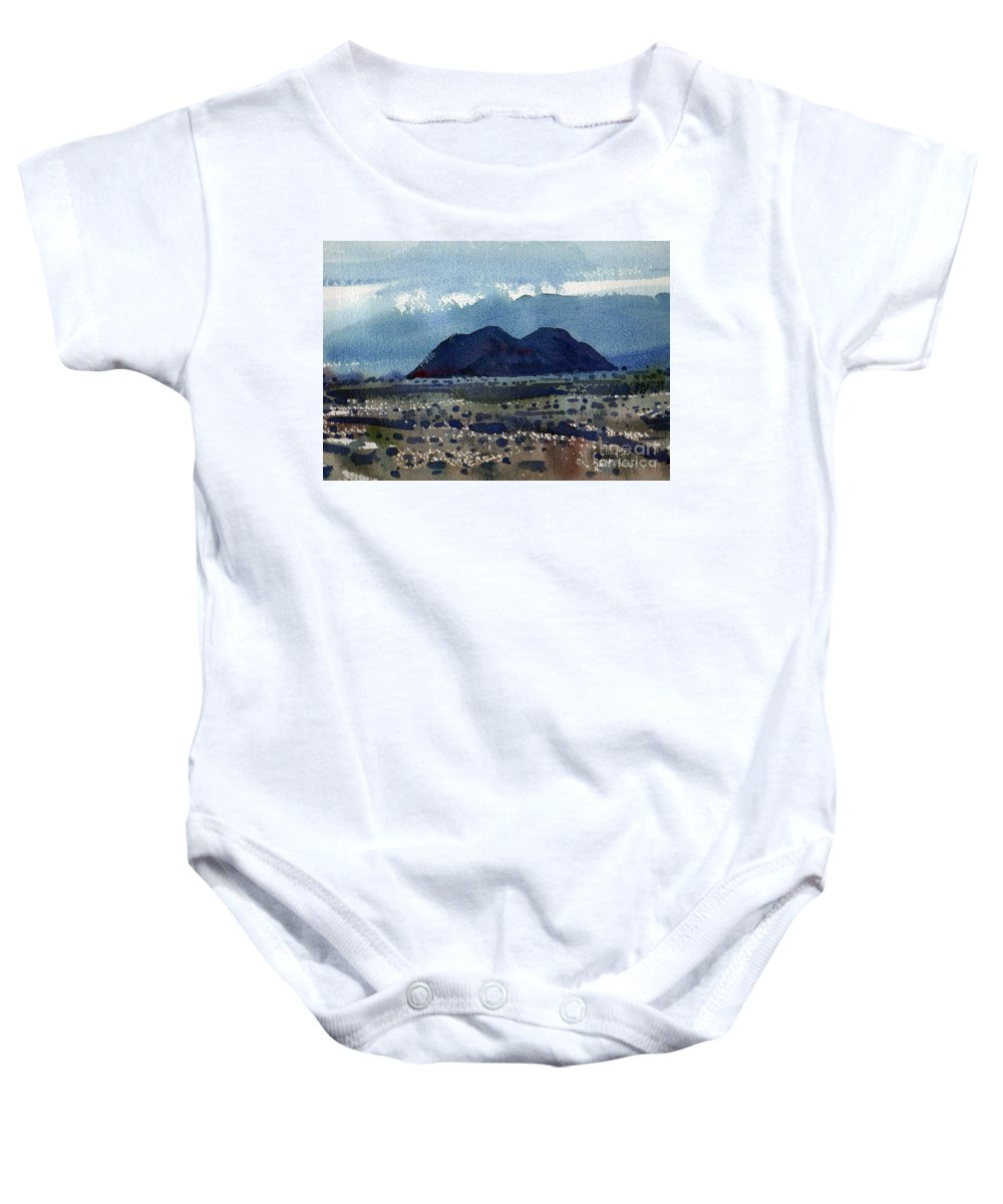 Cinder Cone Baby Onesie featuring the painting Cinder Cone Death Valley by Donald Maier