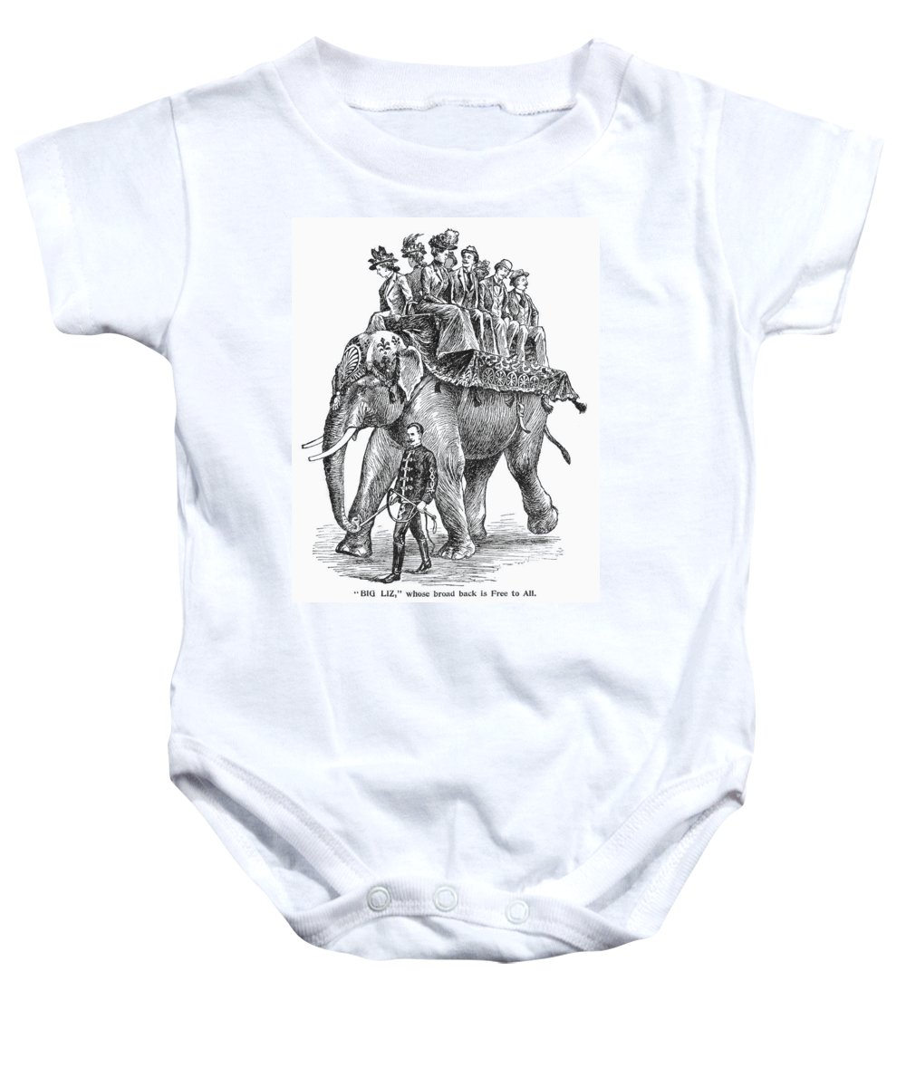 1901 Baby Onesie featuring the photograph Circus: Elephant, C1901 by Granger