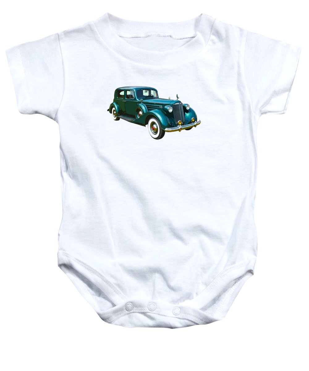 Packard Baby Onesie featuring the photograph Classic Green Packard Luxury Automobile by Keith Webber Jr