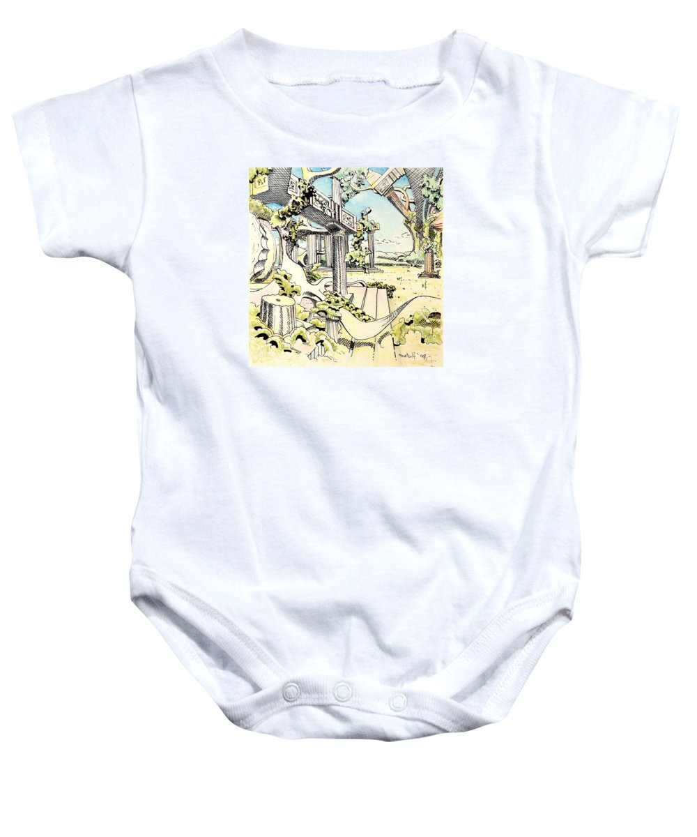 Greek Baby Onesie featuring the painting Classical Visitation by Dave Martsolf